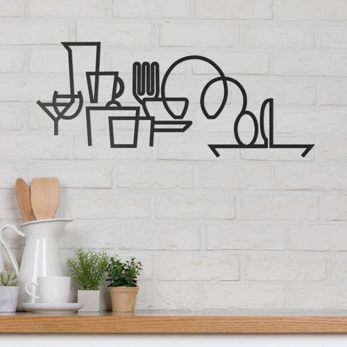 Imagem 1 de 3 de Quadro Decorativo Parede Cozinha Utensílios Minimalista 60cm