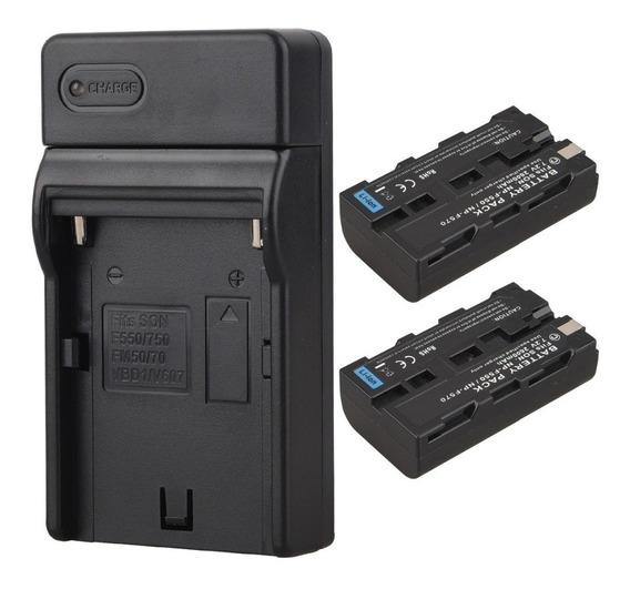 Kit 4 Baterias Np-f570 Com 1 Carregadores Battery Pack