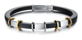 Pulseira Aço 316l Bracelete Banhada Ouro 18k Silicone
