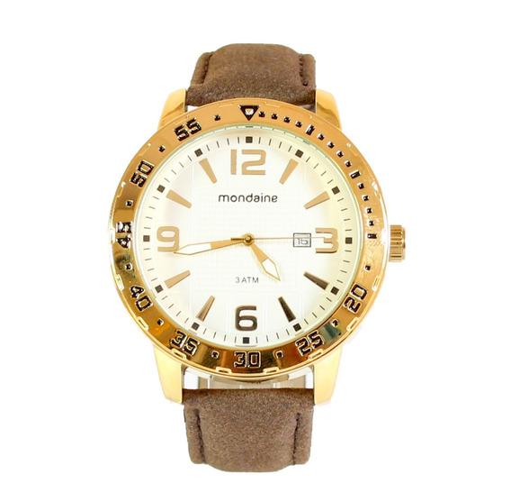Relógio Analógico Original Mondaine Dourado Pulseira Couro