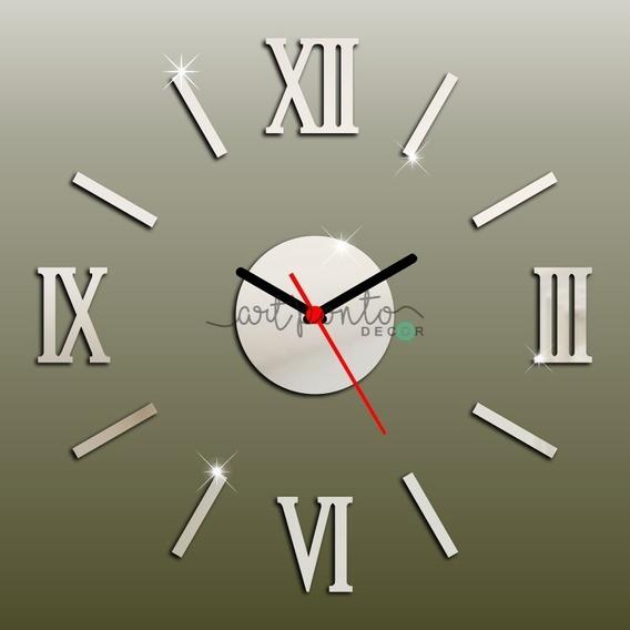 Relógio De Parede Espelhado Em Acrílico Decorativo