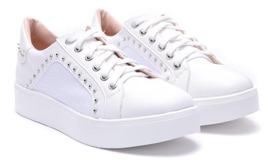 Zapatillas De Mujer Blancas Plataforma Goma Heben Calzados