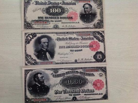 L-1799 - 3 Raras Cédulas U$ 100/500/1.000 -1891 Não Original