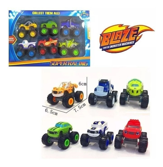 Kit Com 6 Carrinho Blaze Monster Machine Racer Fricçao