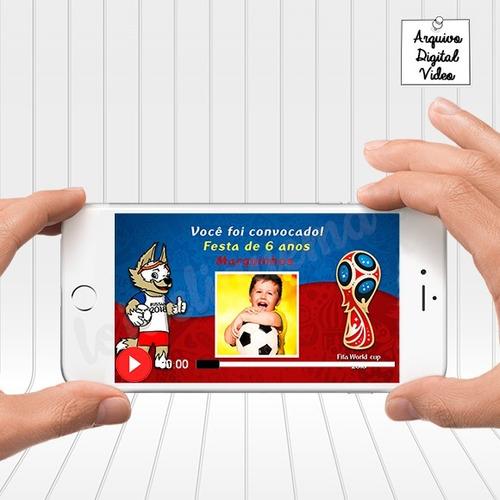 Imagem 1 de 5 de Convite Animado Copa Do Mundo Russia 2018 Aniversário Futebo