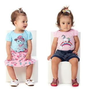 Kit 2 Conjuntos Bebê Menina Body E Saia + Body E Shorts