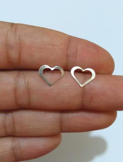 Brinco Prata 925 Femininos Coração Vazado Feminino Lindo