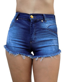 Shorts Feminino Cintura Alta Jeans Curto Rasgado Destroyed