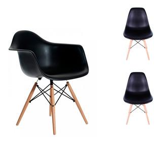 Combo 2 Sillas + 1 Sillon Dsw Diseño Moderno Pata Madera - Eames