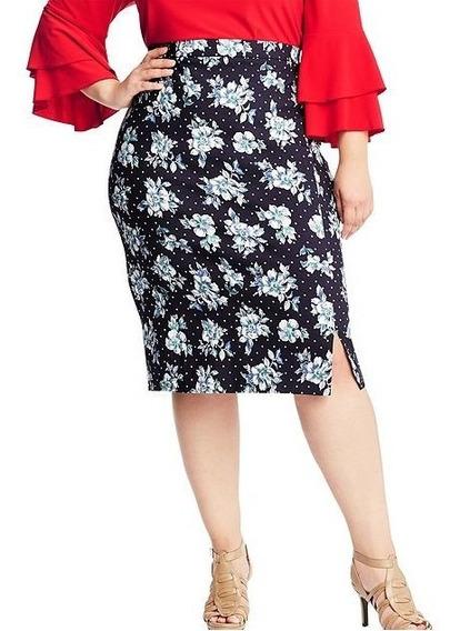 Faldas Dama Extra 26w 28w Jms Flores Spandex Dos Estampados