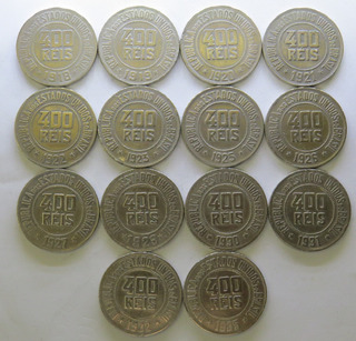 Arremate Lote 14 Moedas 400 Réis De 1918 A 1935 - Ref. 0200