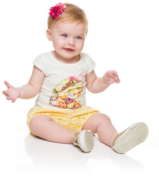Conjunto Shorts E Camiseta M 6 Meses Menina Bebê