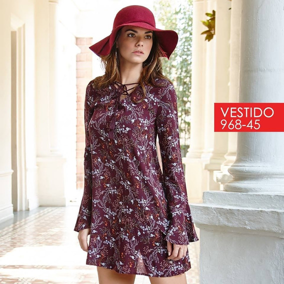 Vestido Cklass Vino Multicolor 968-45 Otoño Invierno 2017