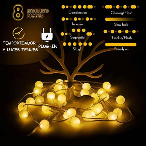 Imagen 1 de 7 de Lámpara Decorativa Con Hilo De Luces Esféricas De 6 M 40led
