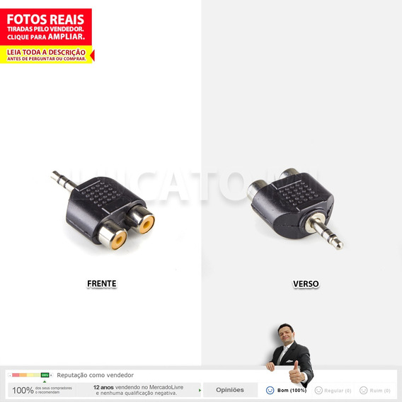Plug Adaptador Macho P2 Stereo Para 2 Jack Rca Fêmea