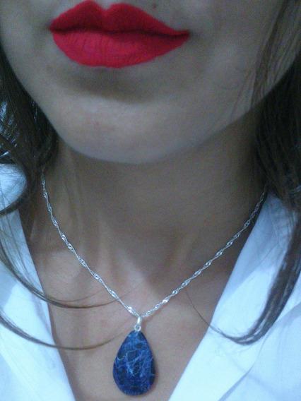 Pingente Gota Pedra Sodalita Azul Castoação Prata 950 Pino E