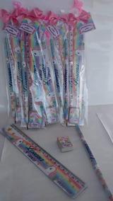 40 Kits Lápis, Borrachas E Réguas Personalizados Unicórnio