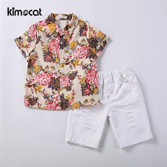 Conjunto Niño Camisa Floral Short Moda Asiática