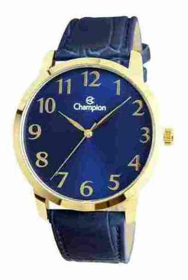 Relógio Masculino Champion Dourado Couro Azul Cn20640a