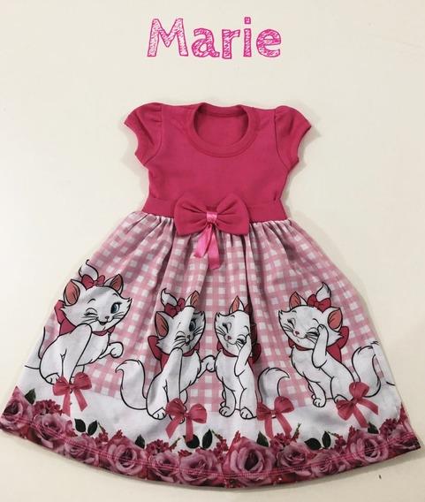 Vestidos Infantil Gatinha Marie Sublimado Veste Até 8 Anos