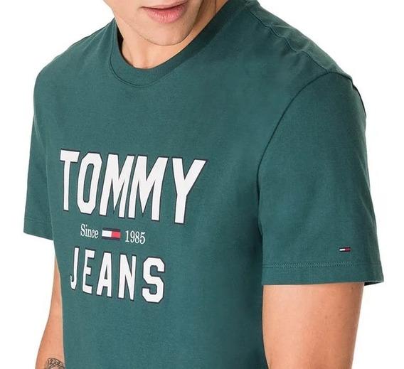 Camiseta Estampada Tommy Hilfiger Verde Jeans Original