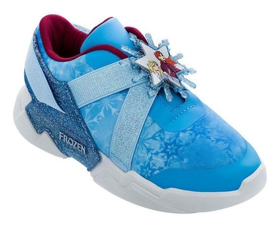 Tenis Frozen Infantil Grendene Azul/branco Pronta Entrega