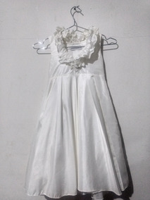 Lindo Vestido Todo Branco Em Tafetá 6 Anos