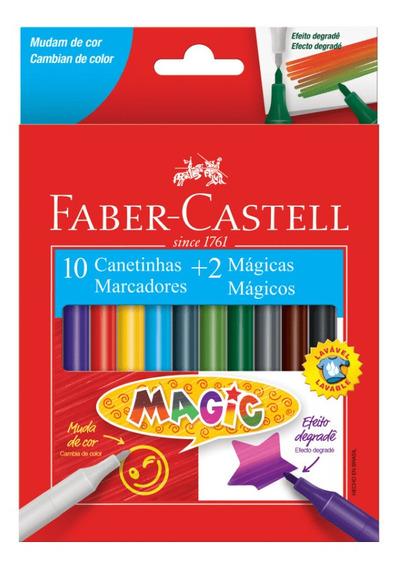 Canetinha 10 Cores + 2 Canetinhas Mágicas Faber Castell