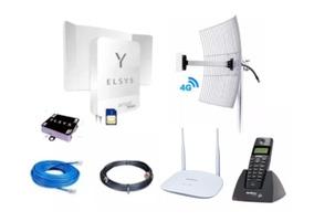 Kit Elsys Amplimax 4g + Telefone Id + Roteador + Antena20dbi