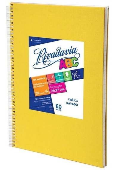 Cuaderno Rivadavia Abc Espiralado X60h Rayado Amarillo