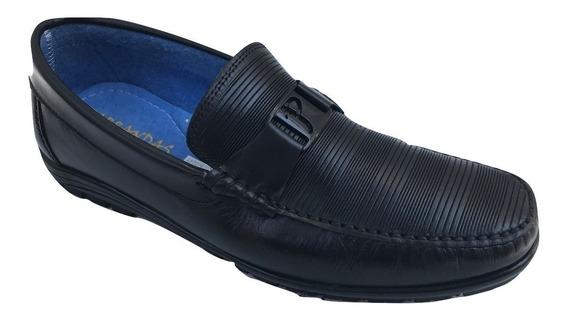 Zapato Casual Mocasin Parrandas 922 Hombre Piel Negro