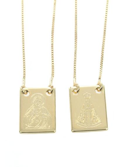 Escapulário Nossa Senhora Aparecida E Sagrado Coração Folheado A Ouro Corrente Veneziana 60cm 5027