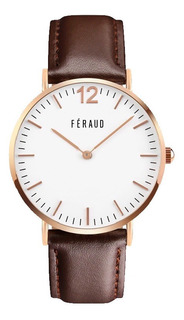 Reloj Clasico Cuero Marron Rosé Hombre Feraud F5510rgm Envio