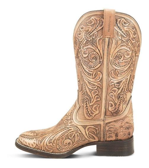 Bota Country Texana Couro Soleta Entalhado Na Mão Masculina