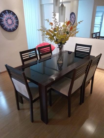 Mesa De Jantar De Madeira/vidro + 6 Cadeiras
