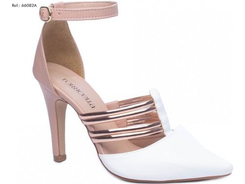Imagem 1 de 5 de Sandália Scarpin Branco Noiva Rosê Sapato Salto Médio