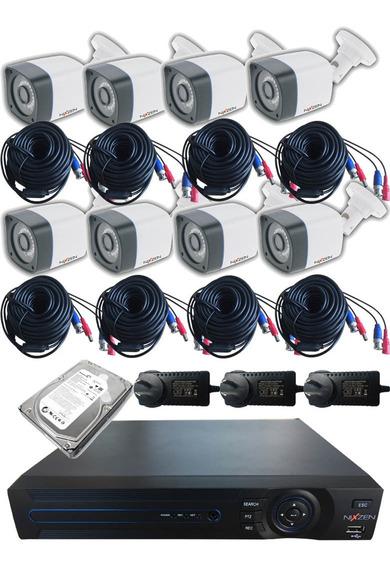 Kit Xvr 16ch 720p 8 Cámaras 1mpx Plástica Exterior 1tb Disco