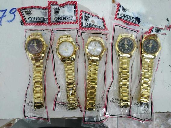 Kit C/20 Relógio De Pulso Infantil Dourado Atacado Revenda