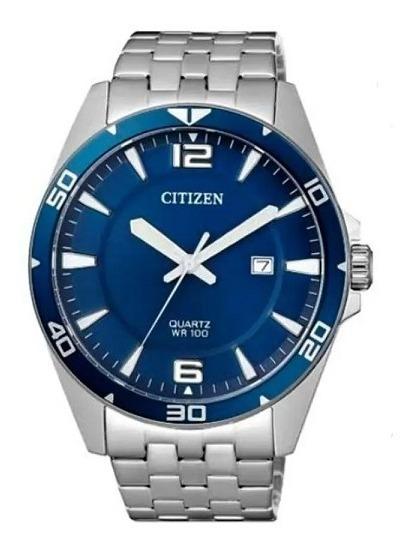 Relógio Citizen Masculino Analógico Calendário Aço Prata