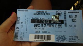 Boleta Carnaval De Barranquilla Batalla De Flores