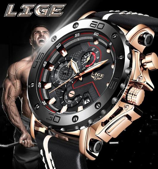 Relógio Masculino Lige 9899 Luxo Promoção Frete Grátis
