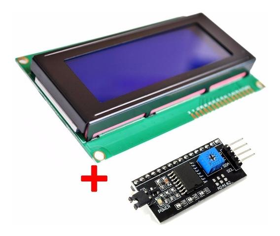 Tela Display Lcd 20x4 Fundo Azul - Pic Arduino + I2c