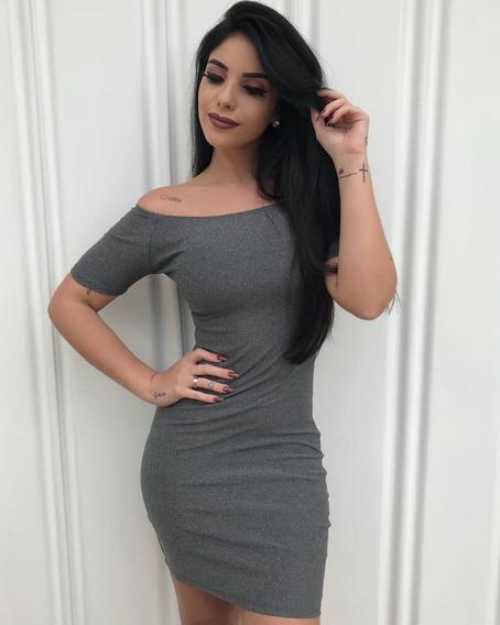 Vestido Feminino Ombro A Ombro Justo Moda