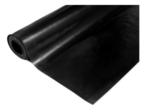 Piso De Goma Gimnasio 2mm Caucho Negro Liso Rollo