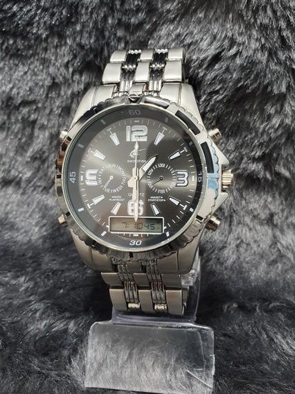 Relógio Masculino Robusto Prata Digital E Analógico Barato