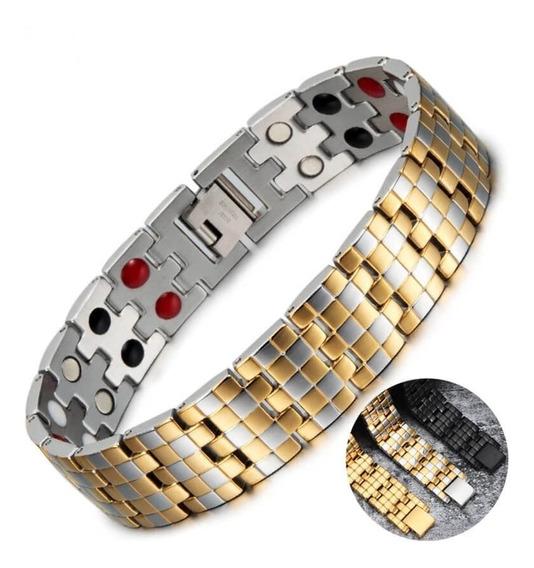 Pulseira De Aço Inoxidável Magnéticos Banhada A Ouro Terapia