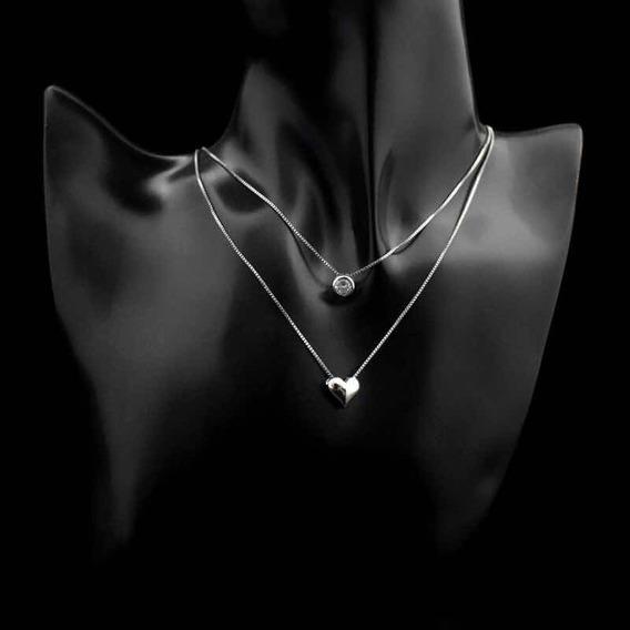 Colar Em Prata Esterlina 925 Coração E Pedra De Strass Lindo