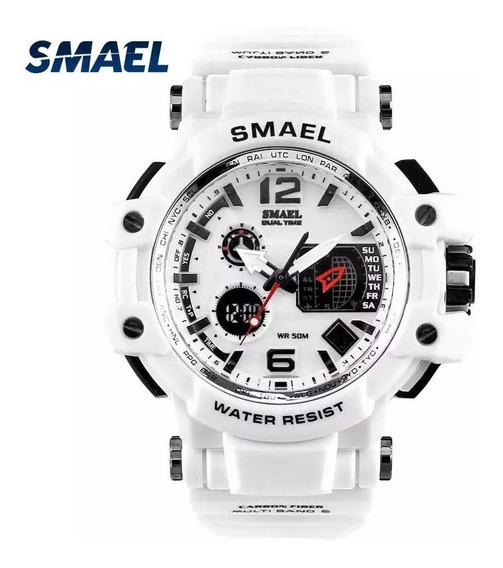 Relógio Masculino Branco Militar Esportivo