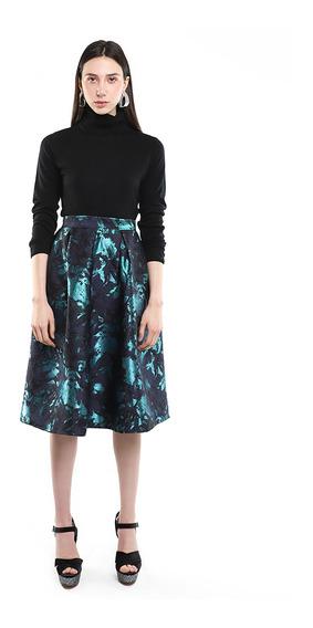 Falda Midi Mujer Estamapada Color Azul Lob
