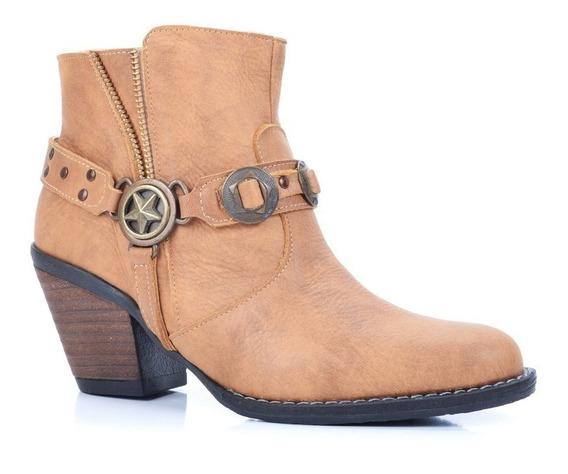 Botita Cuero Tachas Estrella Calzado Mujer Riot Zapatos